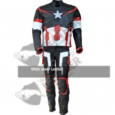 Captain America Movie Costume Real Leather Jacket/Pant Suit (Free Shipping )